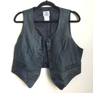 Jackets & Blazers - Vintage Leather Biker Vest Black